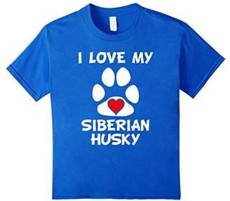 I Love My Siberian Husky Paw Print Heart Dog Owner T-Shirt