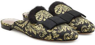 Tabitha Simmons Masha Damask Slippers with Mink Fur