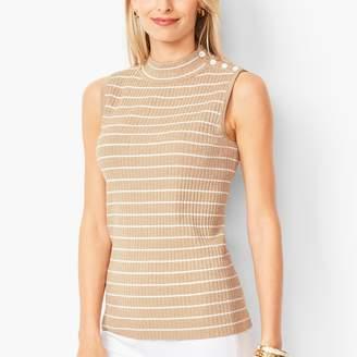 Talbots Sleeveless Ribbed Sweater - Metallic Stripe