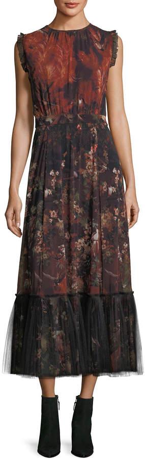 Fuzzi Sleeveless Winter Rust Floral Maxi Dress