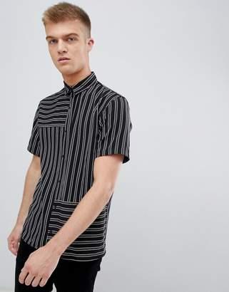 Bershka Short Sleeved Shirt In Black With Stripes