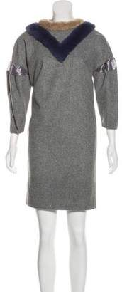 Kolor Faux Fur-Trimmed Wool Dress