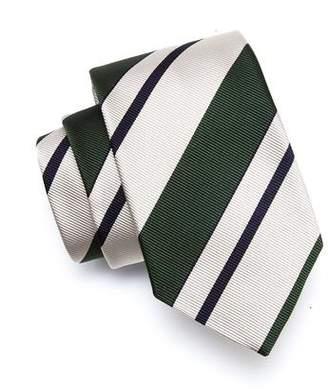 Drakes Drake's Green Silk Awning Stripe Tie