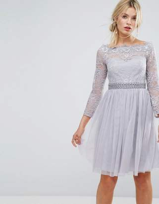 Little Mistress Bardot Midi Dress With Embellished Waist