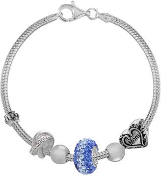 "Individuality Beads Sterling Silver Snake Chain Bracelet & Crystal, ""Mom"" Heart & Love Knot Bead Set - 7.5-in."