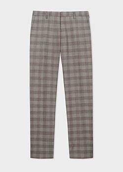 Men's Slim-Fit Grey And Orange Glen Plaid Wool Trousers