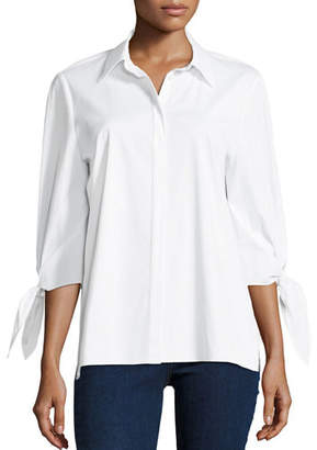 Lafayette 148 New York Liv Bow-Cuff Stretch-Cotton Blouse with Chain-Trim Collar