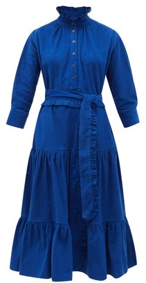 Evi Grintela Phoebe Ruffled Cotton Corduroy Midi Dress - Womens - Blue