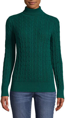 ST. JOHN'S BAY Womens Turtleneck Long Sleeve Pullover Sweater