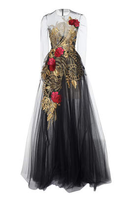 Oscar de la Renta Lace Full Sleeve Embroidered Gown