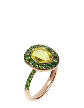Rosegold Annoushka Dusty Diamonds 18ct rose-gold, olive quartz and green diamond ring