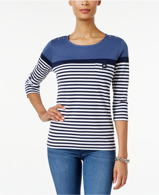 Karen Scott Striped Colorblocked Active Top, Only at Macy's $17.98 thestylecure.com