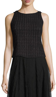 NIC+ZOE Nightscape Ribbed Sleeveless Top, Black Onyx $188 thestylecure.com