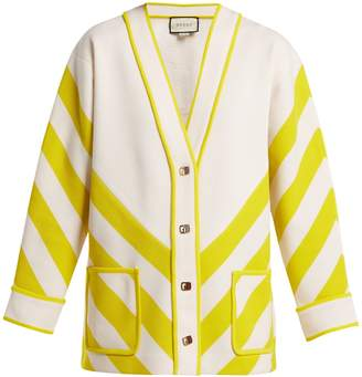 Gucci Chevron-striped wool cardigan