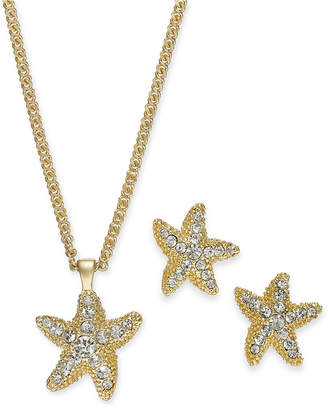 """Charter Club Gold-Tone Pave Starfish Pendant Necklace & Stud Earrings Set, 17"""" + 2"""" extender"""