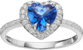 Sloane Rebecca Blue Obsidian & Cubic Zirconia Platinum Over Silver Heart Halo Ring