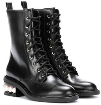 Nicholas Kirkwood Casati Pearl leather biker boots