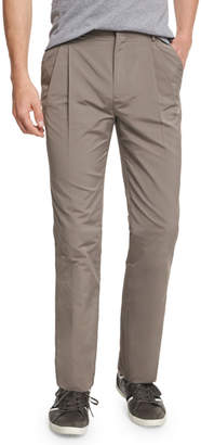 Valentino Pleated-Front Straight-Leg Trousers, Mocha