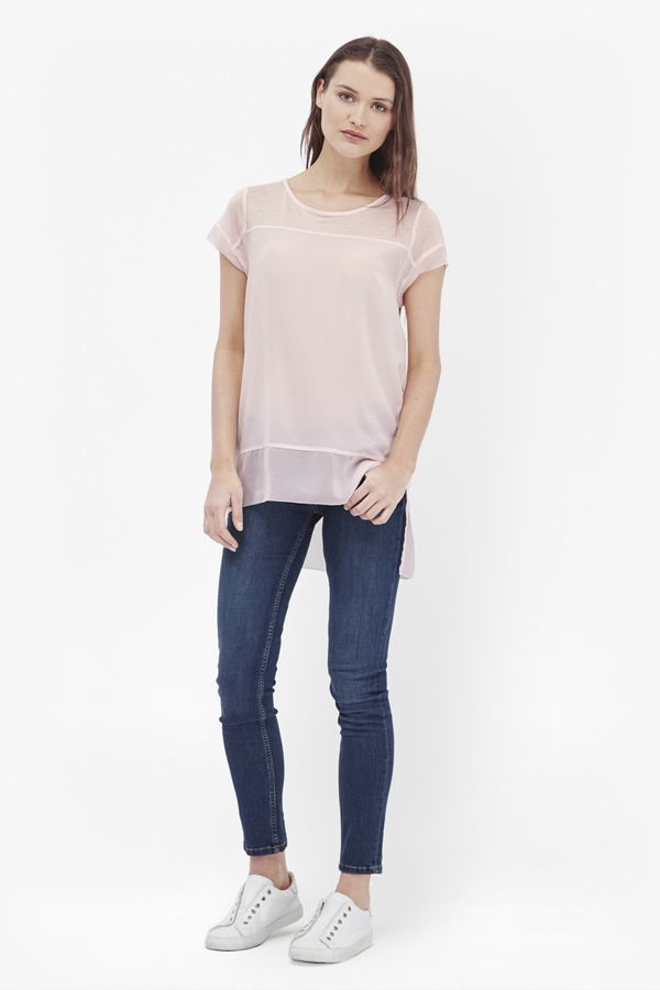 French connection polly chiffon raw edge t shirt for Raw edge t shirt women s