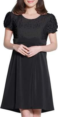 Sweet Mommy Maternity and Nursing Scalloped Lace Short Sleeve Dress BKBKXL