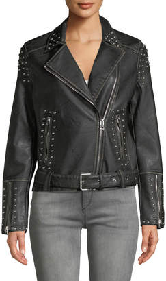 Dex Studded Asymmetric Belted Moto Jacket