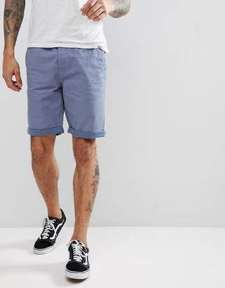 Threadbare Summer Peached Twill Geo Turn up Shorts