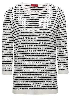 HUGO BOSS Boat-neck sweater in striped waffle structure