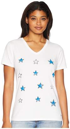 Life is Good Tossed Stars Crusher Vee Women's T Shirt