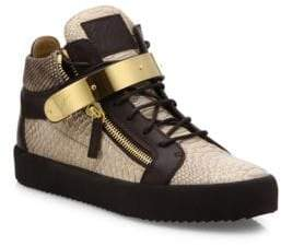 Giuseppe Zanotti Snake-Embossed Leather High-Top Sneakers
