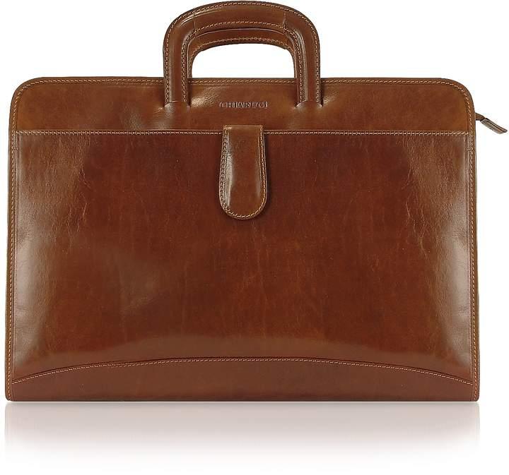 Chiarugi Handmade Brown Genuine Italian Leather Portfolio Briefcase