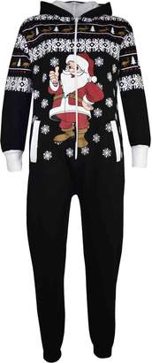 a2z4kids Kids Girls Boys Novelty Christmas Santa Fleece Onesie All In One Jumpsuit 5-13