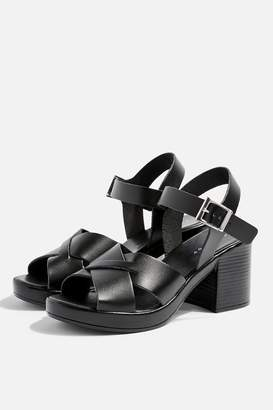 Topshop Womens Danna Black Two Part Sandals - Black