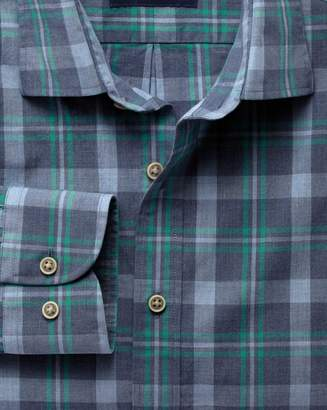 Charles Tyrwhitt Extra Slim Fit Blue and Green Check Heather Cotton Casual Shirt Single Cuff Size Large
