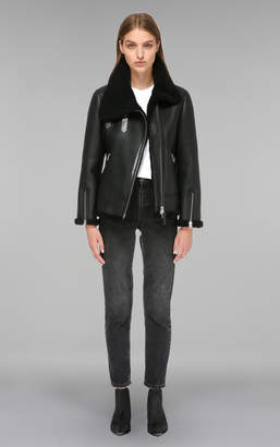 Mackage MINNA classic shearling coat with asymmetrical closure