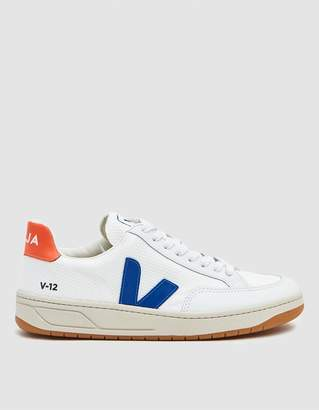 Veja V-12 B-Mesh Sneaker in White/Indigo/Orange Fluorescent