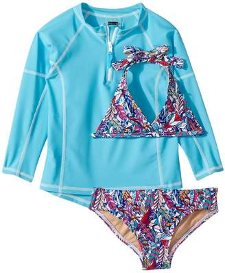 Toobydoo Funky Feathers Bikini Aqua Rashguard Set Girl's Swimwear Sets