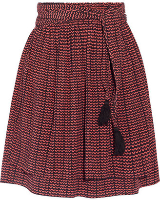 APIECE APART - Baja Printed Pleated Silk-crepon Mini Skirt - Burgundy $425 thestylecure.com
