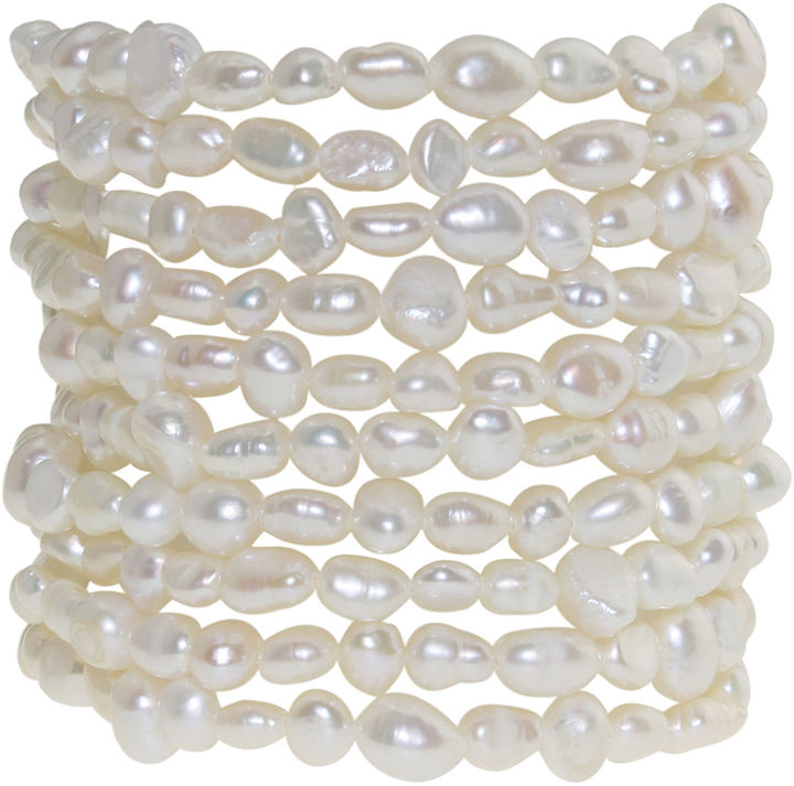 JCPenney FINE JEWELRY Cultured Freshwater Pearl Set of 10 Stretch Bracelets