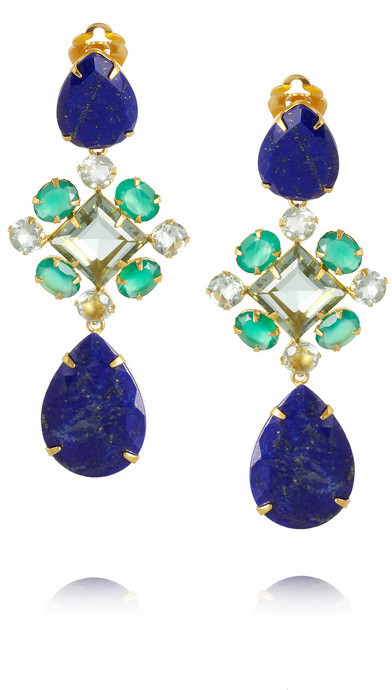 Bounkit Gold-plated, lapiz lazuli and amethyst clip earrings
