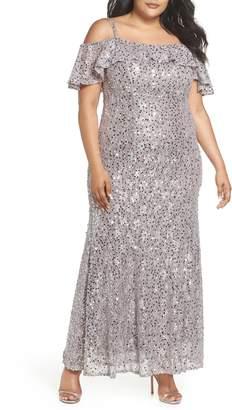 Morgan & Co. Sequin Cold Shoulder Gown