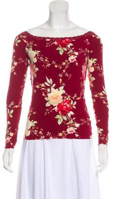 Blumarine Lace-Trimmed Printed Top