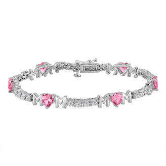 FINE JEWELRY Lab-Created Sterling Silver Pink Sapphire and Cubic Zirconia Mom Bracelet