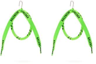 Balenciaga Lace Wrapped Silk Hoop Earrings - Womens - Green
