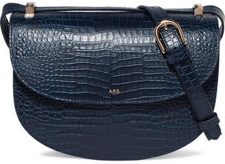 A.P.C. Geneve Croc-effect Leather Shoulder Bag - Navy