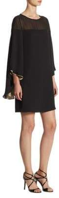 Halston Butterfly-Sleeve Shift Dress