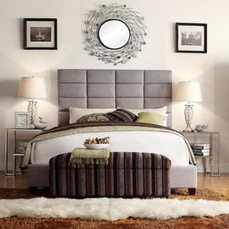 Weston Home Baylor Gray Leather Upholstered Column Headboard - Multiple sizes