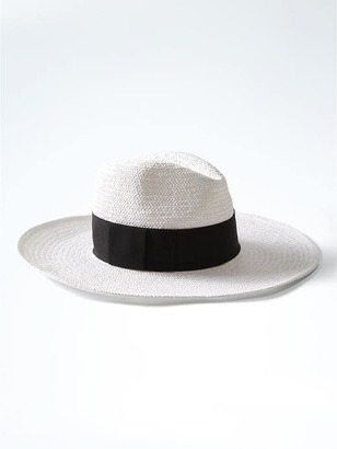 Wide Brim White Straw Hat $48 thestylecure.com