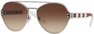 Valentino Gradient Butterfly Sunglasses w/ Rockstud Trim