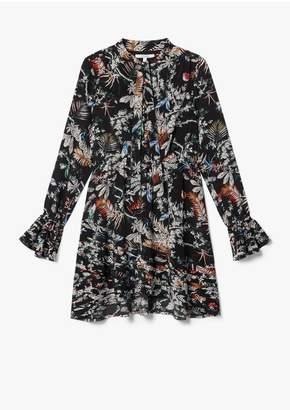 Derek Lam 10 Crosby Long Sleeve Wallpaper Floral Ruffle Hem Dress With Button Detail