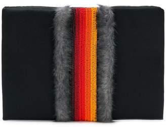 NO KA 'OI No Ka' Oi beaded fur trim clutch